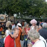 There was a huge crowd who enjoyed pizza and Halloween treats.