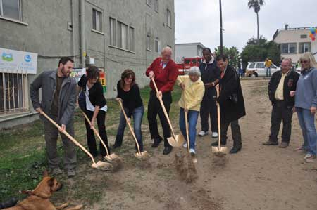 Breaking ground ... (from left to right) Zack Freeman, Kara Kemmler of the Coastal Conservancy, Rhonda deVictor, Councilman Bill Rosendahl, Maxine Leral, Mark Grant from Rosendahl's office, and Michael Espinosa of City of LA.