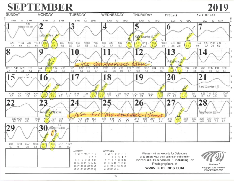 September Canal Flushing Schedule