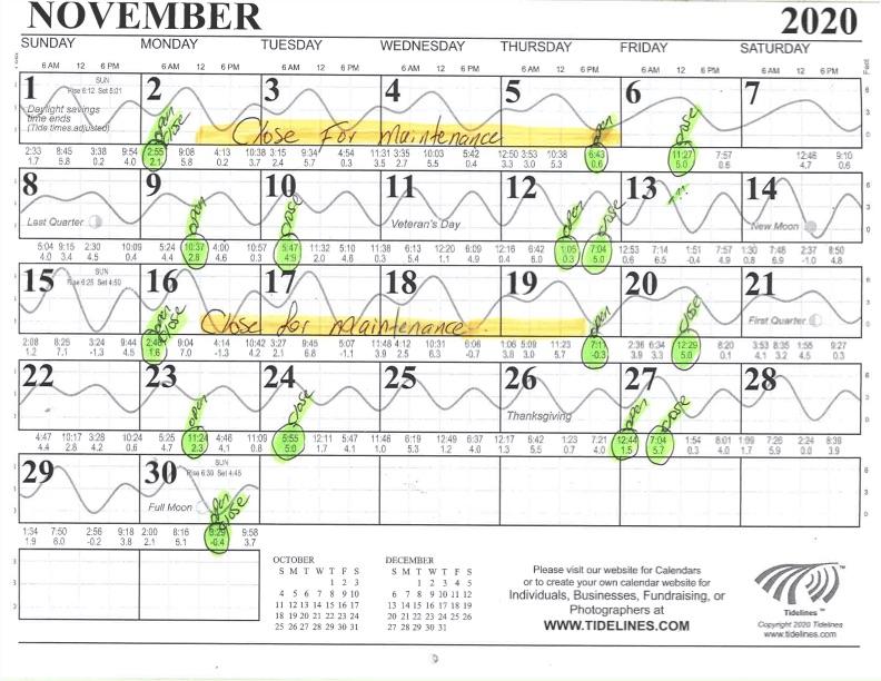 November Flushing Schedule