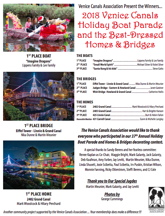 2018 Venice Canals Holiday Boat Parade Results
