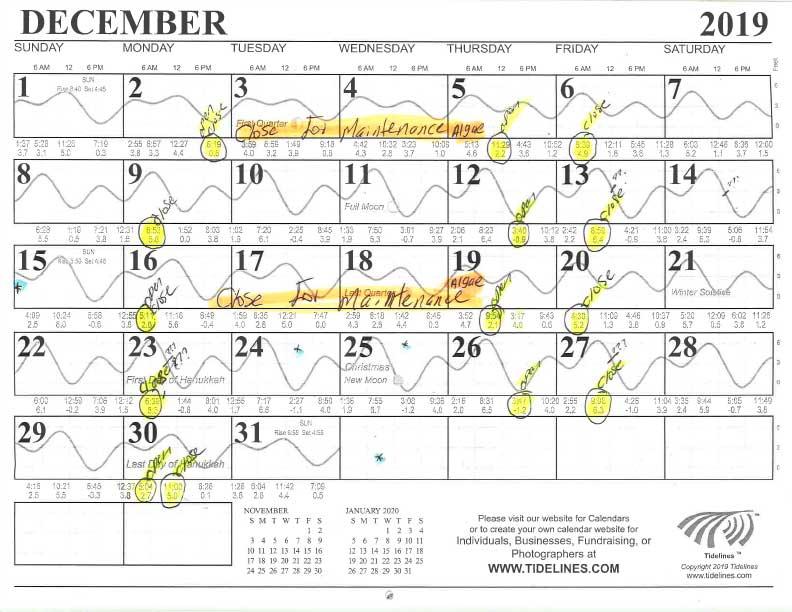 December Canal Flushing Schedule