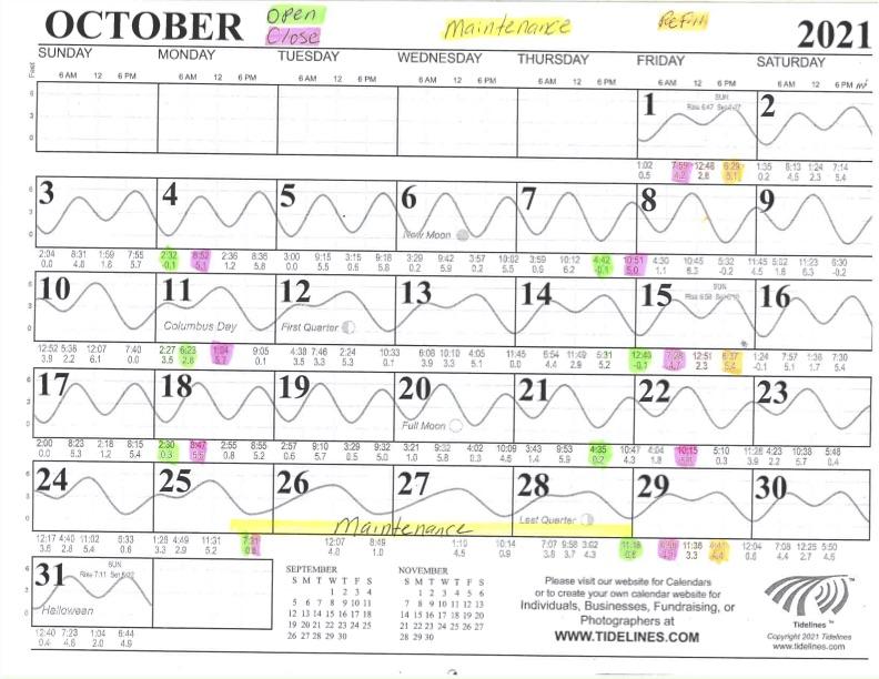 October 2021 Flushing Schedule